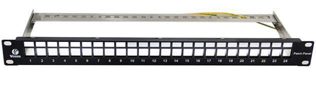 24口模块化屏蔽配线架空架