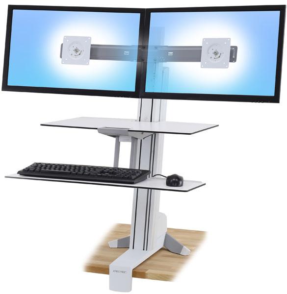 WorkFit-S 双显示器工作站带工作台面 (亮白)33-349-211