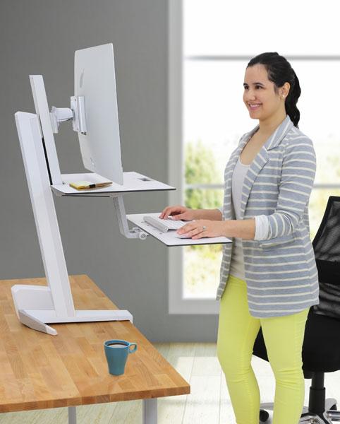 WorkFit-S 重型显示器工作站带工作台面 (亮白) 33-351-211