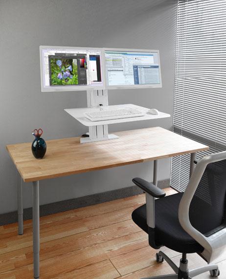 WorkFit-SR,雙顯示器,坐站兩用臺式工作站(白色)33-407-062