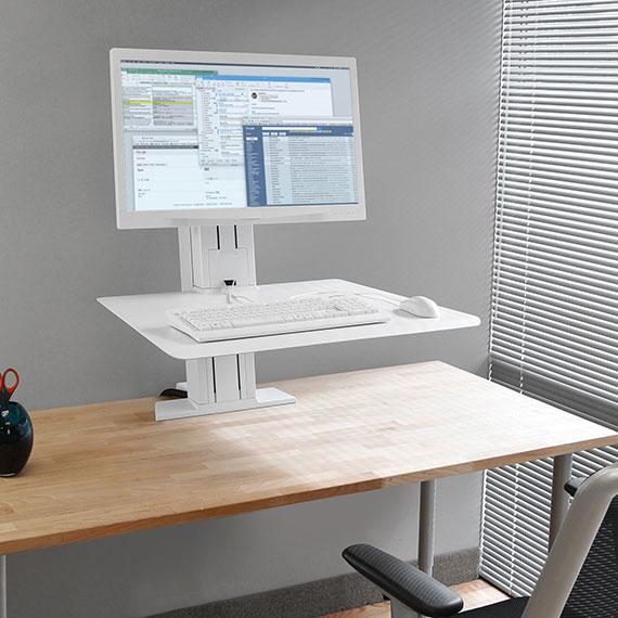 WorkFit-SR,单显示器,坐站两用台式工作站(白色)33-415-062