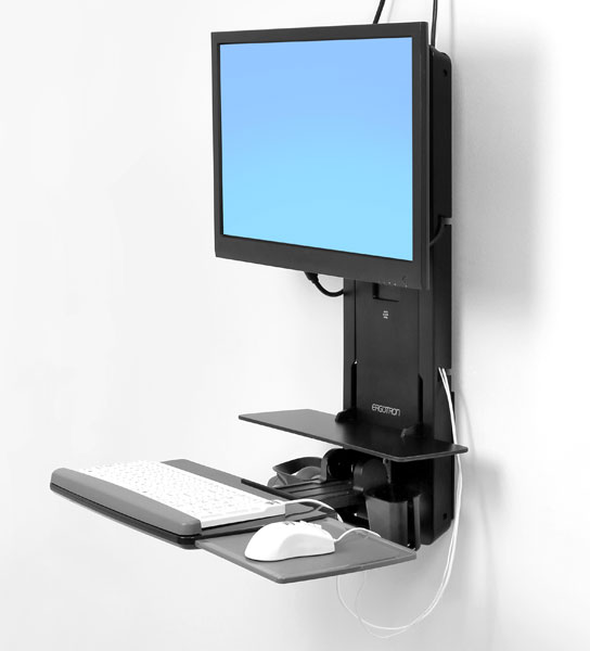 StyleView® 坐站两用垂直升降支架,病房版 (炭黑)61-080-085