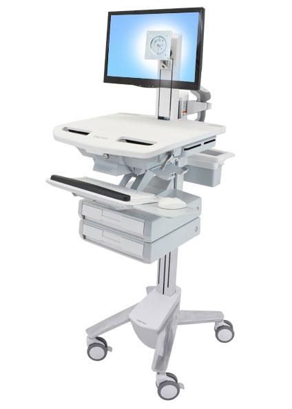 StyleView® 带 LCD 转轴推车,2 个抽屉 (1x2)  SV43-1320-0